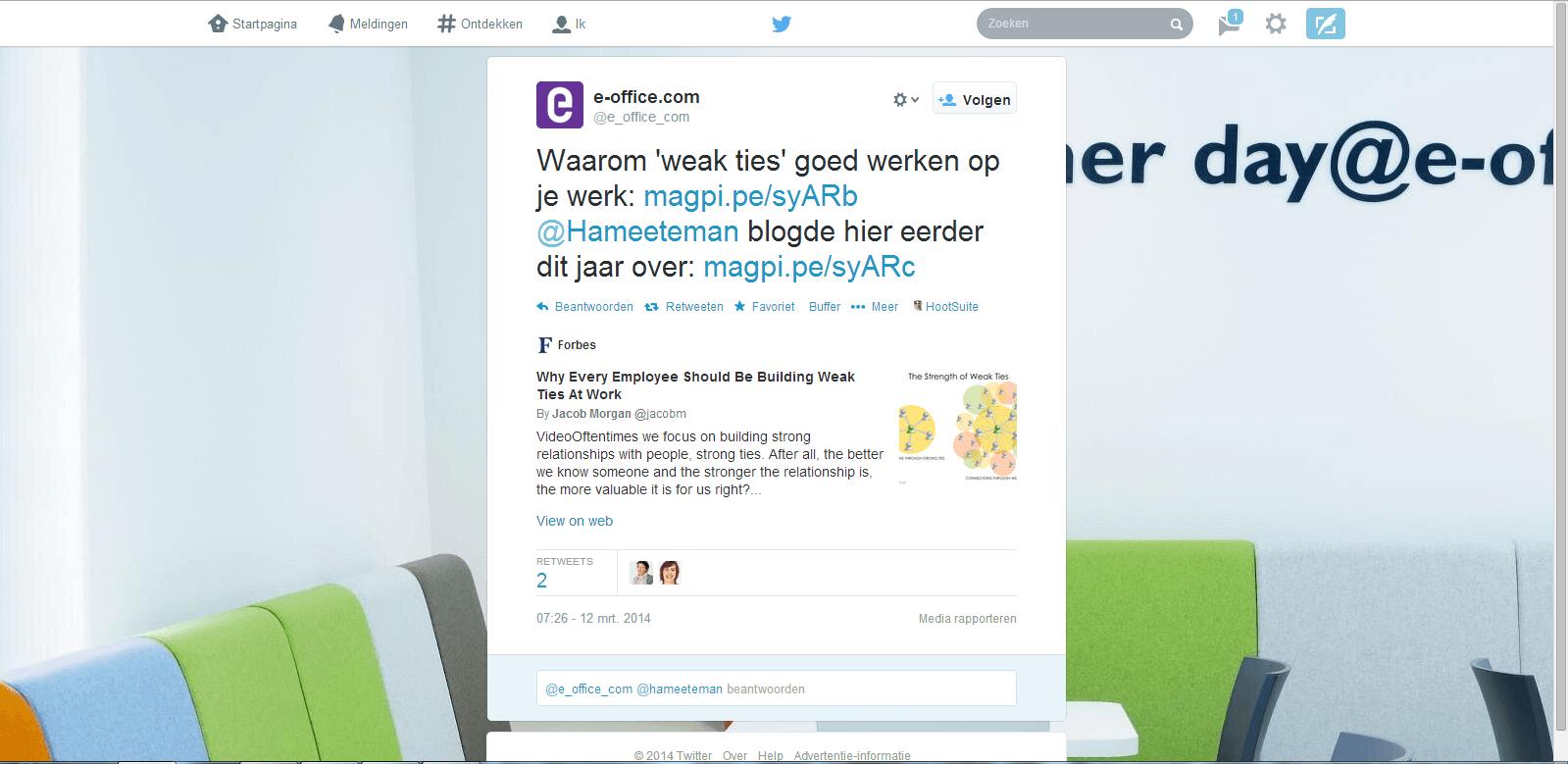 e-office content curation begint met een tweet