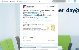 goed opgebouwde tweet van e-office