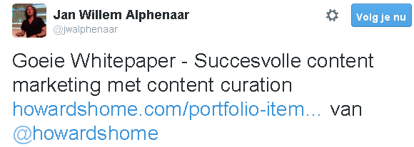 Tweet van Jan Willem Alphenaar over HowardsHome whitepaper Succesvolle content marketing met content curation